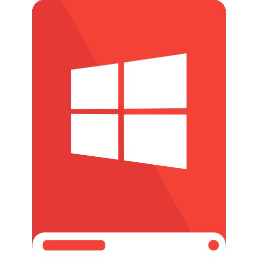 drive, red, white, windows icon
