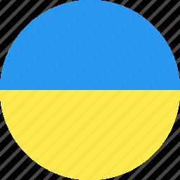circle, country, flag, nation, ukraine, world icon