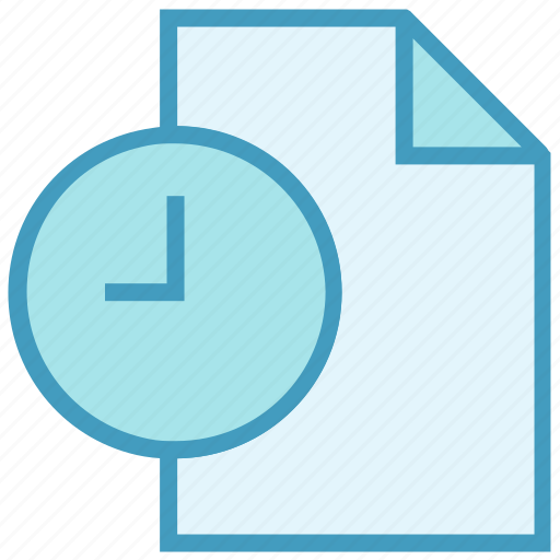 clock, document, file, page, paper, schedule, time icon