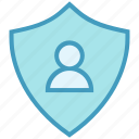 antivirus, person, protect, security, shape, shield, user icon