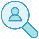 employee, find, magnifier, people, search, search user, user icon
