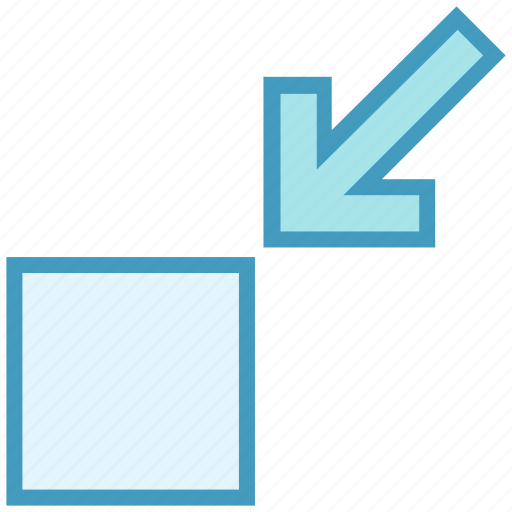 control, height, minimize, navigation, reducing, screen, width icon