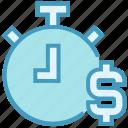 clock, countdown, deadline, dollar, money, stopwatch, timer icon