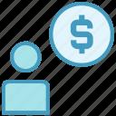 account, coin, dollar, man, money, person, user icon