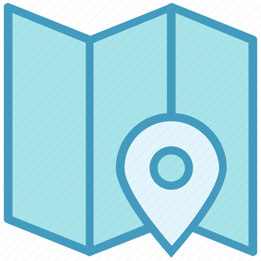 directions, location pin, map, marker, navigation, paper icon
