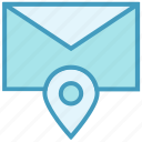 envelope, location, mail, map, message, pin, pointer icon