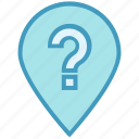 gps, location, map, navigation, pin, point, question mark icon
