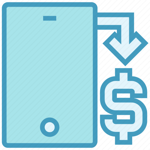arrow, business, dollar, mobile, phone, sign, smartphone icon