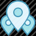 gps, locations, map marker, map pin, navigation, pins, three icon