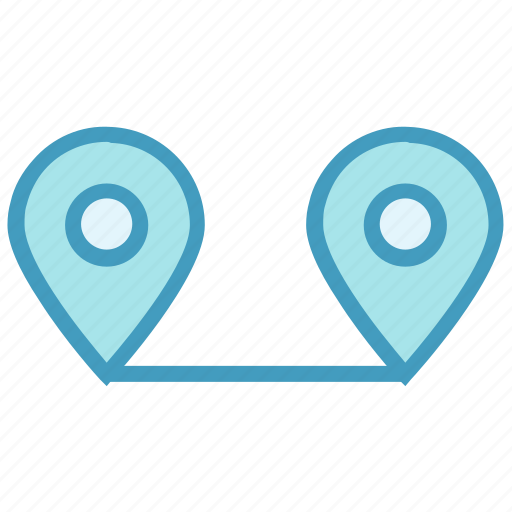 Connection, direction, gps, locate, locations, pins, two icon - Download on Iconfinder