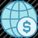 business, currency, dollar, finance, globe, money, world