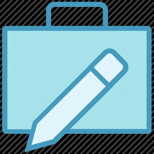 bag, business, case bag, design, pencil, portfolio, stationary icon