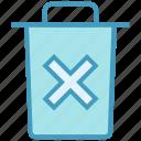 bin, cross, dust bin, garbage, office, trash, waste bin