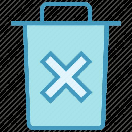 bin, cross, dust bin, garbage, office, trash, waste bin icon