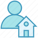 building, home, house, person, property, real estate, user icon
