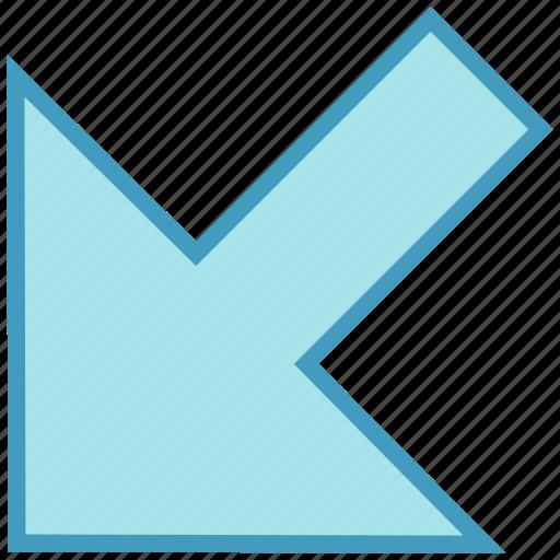 arrow, cursor, down, down left, mouse, mouse arrow, pointer icon
