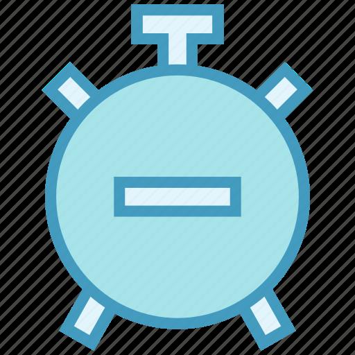 alarm, alarm clock, clock, minus, time icon