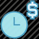 alarm, clock, dollar, money, optimization, time, watch