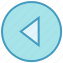 arrow, circle, left, media, triangle icon