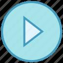 arrow, circle, media, right, triangle