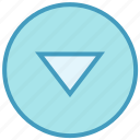 arrow, circle, down, media, triangle icon