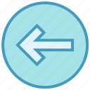arrow, circle, forward, left, left arrow, material icon