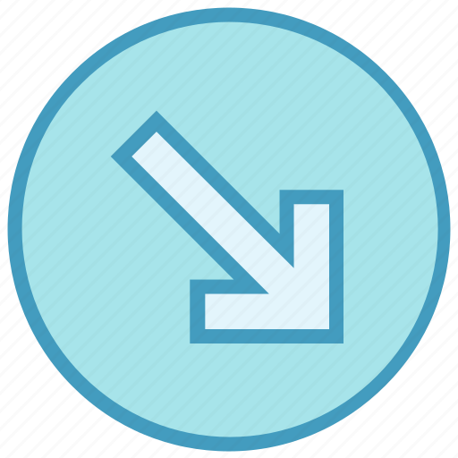 Arrow, circle, down, down arrow, forward, material icon - Download on Iconfinder
