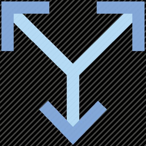 arrows, direction, orientation, road, split, three, three arrows icon