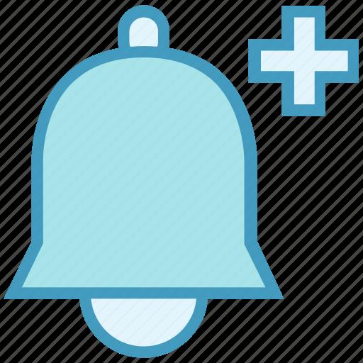 alarm, alert, bell, notification, plus, ring, sound icon