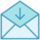 down arrow, email, envelope, letter, mail, message, received