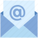 at sign, email, envelope, internet, letter, mail, message icon