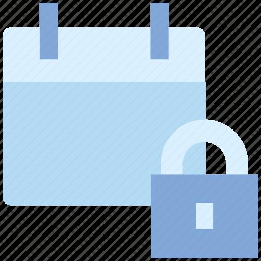 agenda, appointment, calendar, date, lock, schedule, secure icon