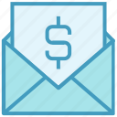 dollar, email, envelope, letter, mail, message, money