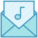 email, envelope, letter, mail, message, multimedia, music note icon