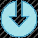 arrow, circle, down, down arrow, forward, material