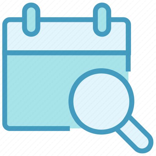 Agenda, appointment, calendar, date, find, magnifier glass, schedule icon - Download on Iconfinder