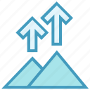 arrows, camping, mountains, nature, ski, up arrows icon