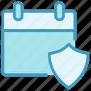 agenda, antivirus, appointment, calendar, date, schedule, shield