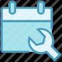 agenda, appointment, calendar, date, repair, schedule, wrench