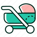 baby, carriage, mother icon