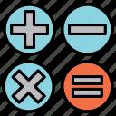 basic maths, calculation symbols, elementary maths, math, math symbols, maths, symbols icon