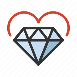 cupid, diamond, heart, love, romance icon