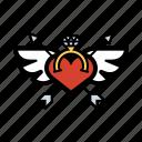 diamond, heart, love, ring, wings icon