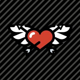 cupid, heart, love, romance, wings icon
