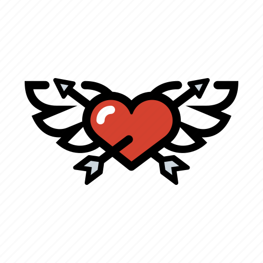 cupid, heart, love, romance, wings icon
