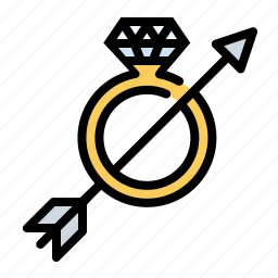 arrow, engagement ring, love, ring, romance, wedding icon