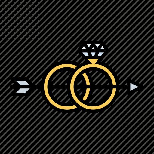 arrow, cupid, diamond, love, rings, romance, wedding icon