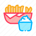 bottle, french, fries, mayonnaise, preparing, sauce, spice icon
