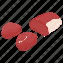 chopped beef, cubed steak, fillet steak, meat chunks, stewing steak icon