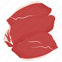 beef, beef chunks, beef cuts, chateaubriand, raw meat, tenderloin fillet icon